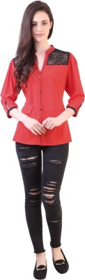 Vvine Women's Solid Party Red Shirt