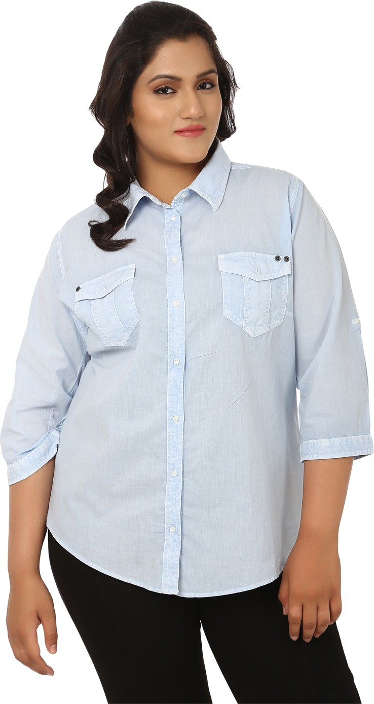 LastInch Women's Solid Casual Light Blue Shirt