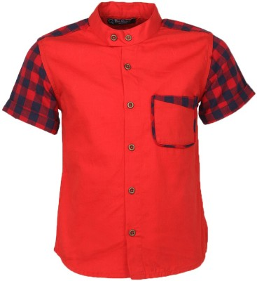 Cool Quotient Boy's Self Design Casual Red Shirt