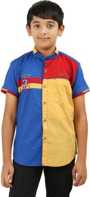Cub Kids Boy's Printed Casual Blue, Yellow, Red Shirt