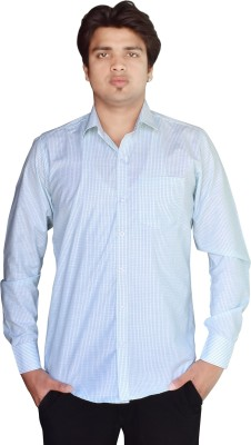 Kartier Men's Checkered Casual Light Blue Shirt