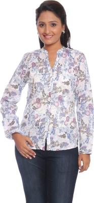 Park Avenue Women,s Printed Formal White Shirt