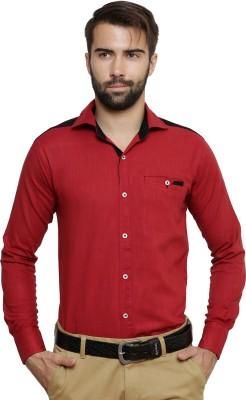 Ebry Men's Solid Formal Maroon Shirt