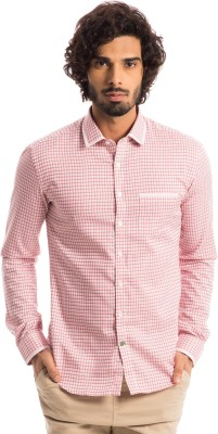 Specimen Men's Checkered Casual Pink Shirt