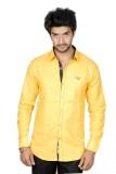 FUKREY Men's Solid Casual Yellow Shirt