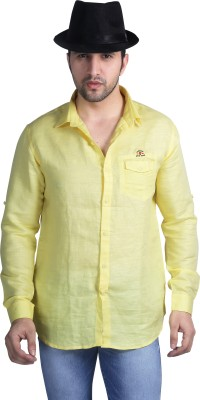 Nostrum Jeans Men's Solid Casual Yellow Shirt