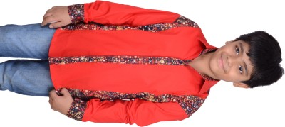 Kiaraa Boy's Printed Casual Red Shirt