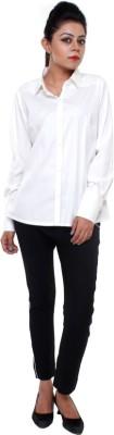 Tryfa Women's Solid Casual White Shirt