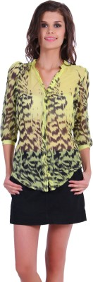 TheGudLook Women,s Printed Casual Yellow Shirt