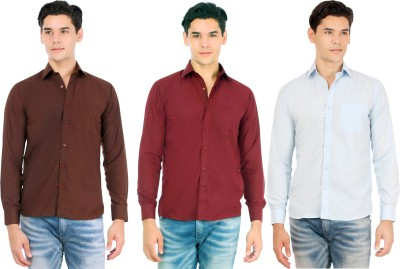 Atmosphere Men's Solid Casual Brown, Maroon, Light Blue Shirt