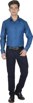 Shaurya-F Men's Solid Formal Blue Shirt