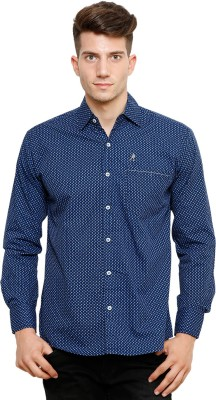 Ebry Men's Printed Casual Blue Shirt