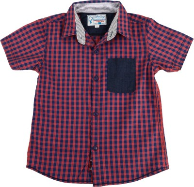 Biker Boys Boy's Checkered Casual Red Shirt