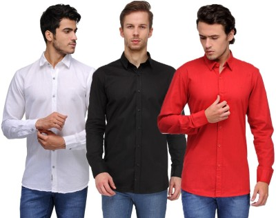 Feed Up Men's Solid Casual White, Black, Blue Shirt