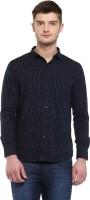 Dennison Formal Shirts (Men's) - Dennison Men's Polka Print Formal Dark Blue Shirt