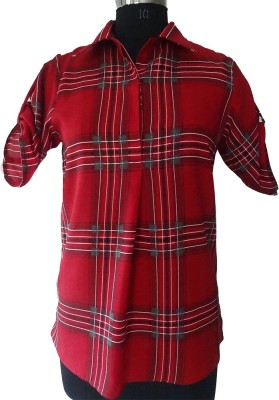Classsy5 Women's Checkered Casual Red Shirt