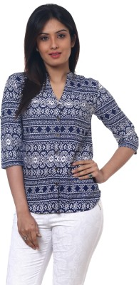 Lynda Women's Printed Casual Blue Shirt