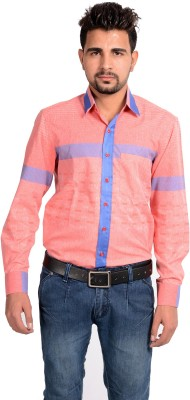 Riwas Collection Men's Printed Casual Red, Pink Shirt