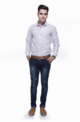 Jads Men's Geometric Print Casual White, Grey, Black Shirt
