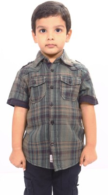 Bio Kid Boy's Checkered Casual Green Shirt
