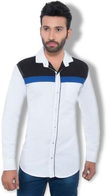 One Sphere Men's Self Design Casual White Shirt