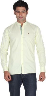Qpark Men's Solid Casual Linen Yellow Shirt