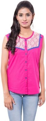 Viba London Women's Solid Casual Pink Shirt