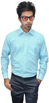 Culture Plus Men's Checkered Formal Green, White Shirt