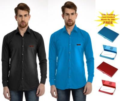 AVSPOLO Men's Solid Casual Black, Light Blue Shirt
