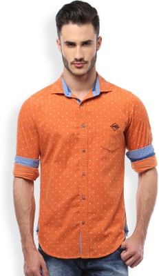 Mike and Smith Men,s Printed Casual Orange Shirt
