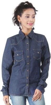 London Houze Women's Solid Casual Blue Shirt