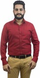 Aces Blue Men's Solid Formal Red Shirt