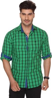 Ramarrow Men's Checkered Casual Green Shirt