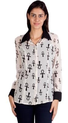 Ebry Women's Printed Casual White Shirt