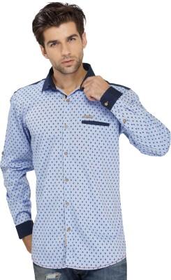SEVEN STITCHES Men's Graphic Print Casual Blue Shirt