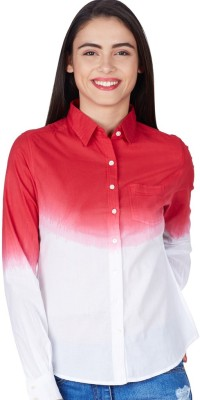 American Swan Women's Solid Formal Red Shirt