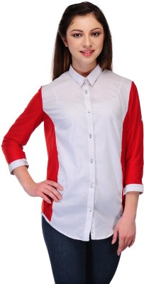 Desi Duos Women's Printed, Solid, Woven, Polka Print Casual White, Red Shirt