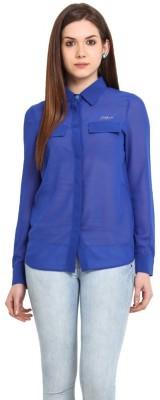 Stykin Women's Embellished Casual Blue Shirt