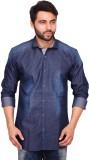 RKF Men's Self Design Casual Blue Shirt