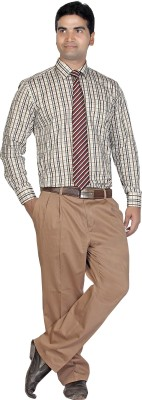 Boonplush Men's Checkered Formal Grey Shirt