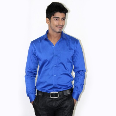 Piccolo Clothings Men's Solid Formal Blue Shirt