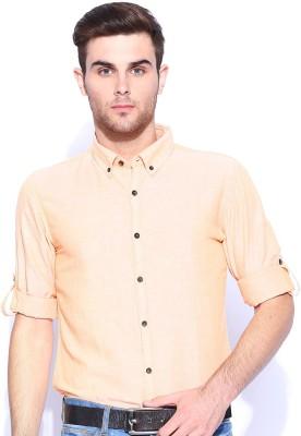 Mast & Harbour Men's Solid Casual Orange Shirt