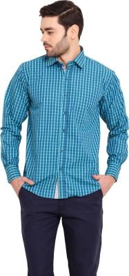 Ennoble Men's Checkered Casual Blue Shirt