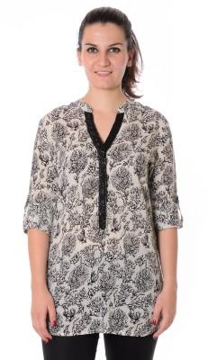 Urban Religion Women's Printed Casual White, Black Shirt