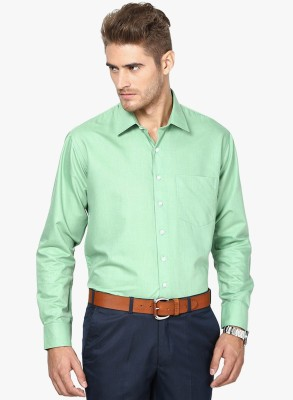 Be Style Men's Solid Formal Green Shirt