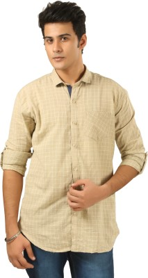 PraadoFashion Men's Checkered Casual Beige, White Shirt