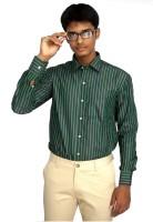 Strawberry Formal Shirts (Men's) - Strawberry Men's Striped Formal Dark Green Shirt