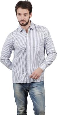 FDS Men's Striped Formal White Shirt