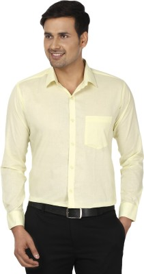 Edinwolf Men's Solid Formal Yellow Shirt