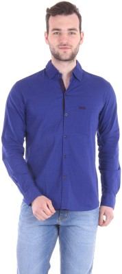 Routeen Men's Solid Casual Blue, Blue Shirt